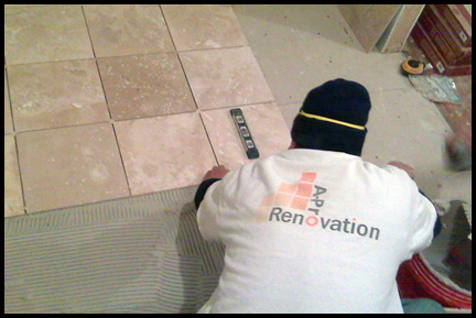 A-Pro Renovation Installing Kitchen Tile